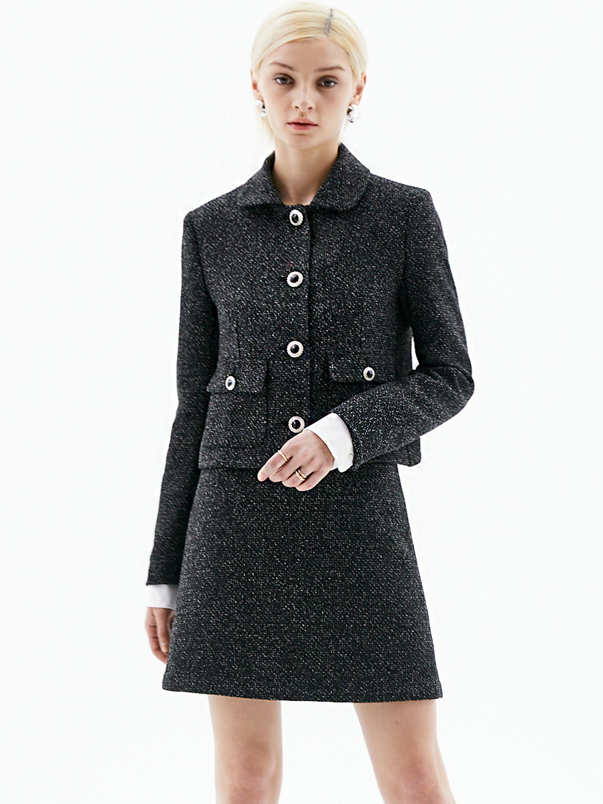 Jocelyn Collar Tweed Jacket_Black