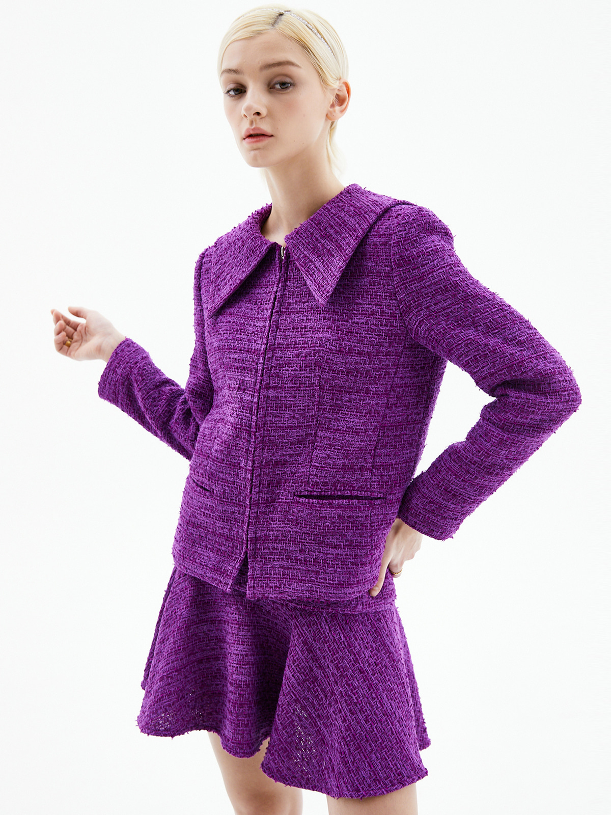 Alice Zip-Up Tweed Jacket_Purple