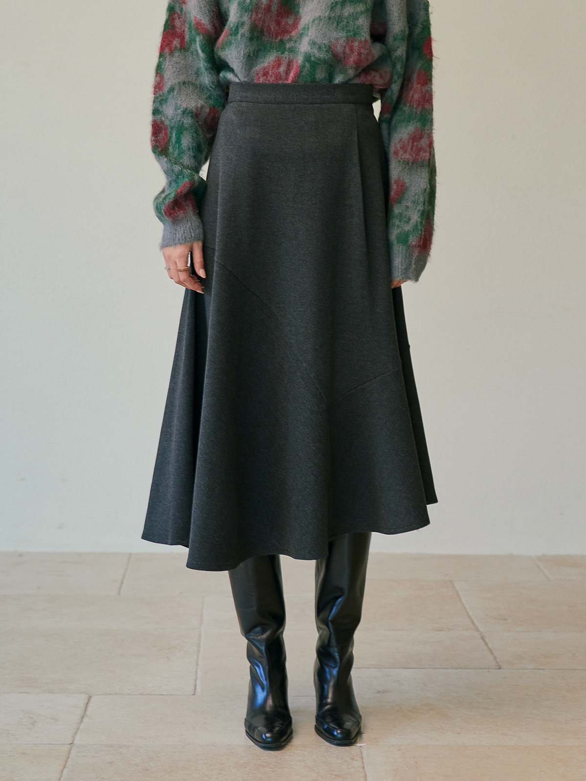 [FINALSALE 50%]Patricia Unbalanced Wool Skirt_Charcoal