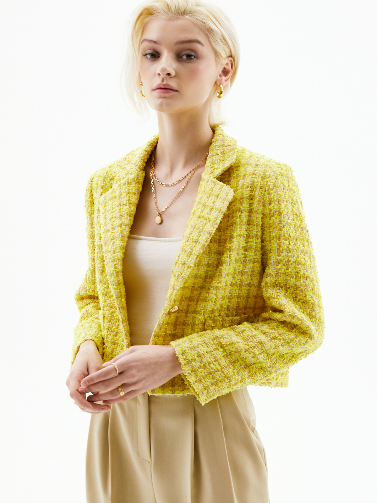 Selina Tweed Jacket_Yellow