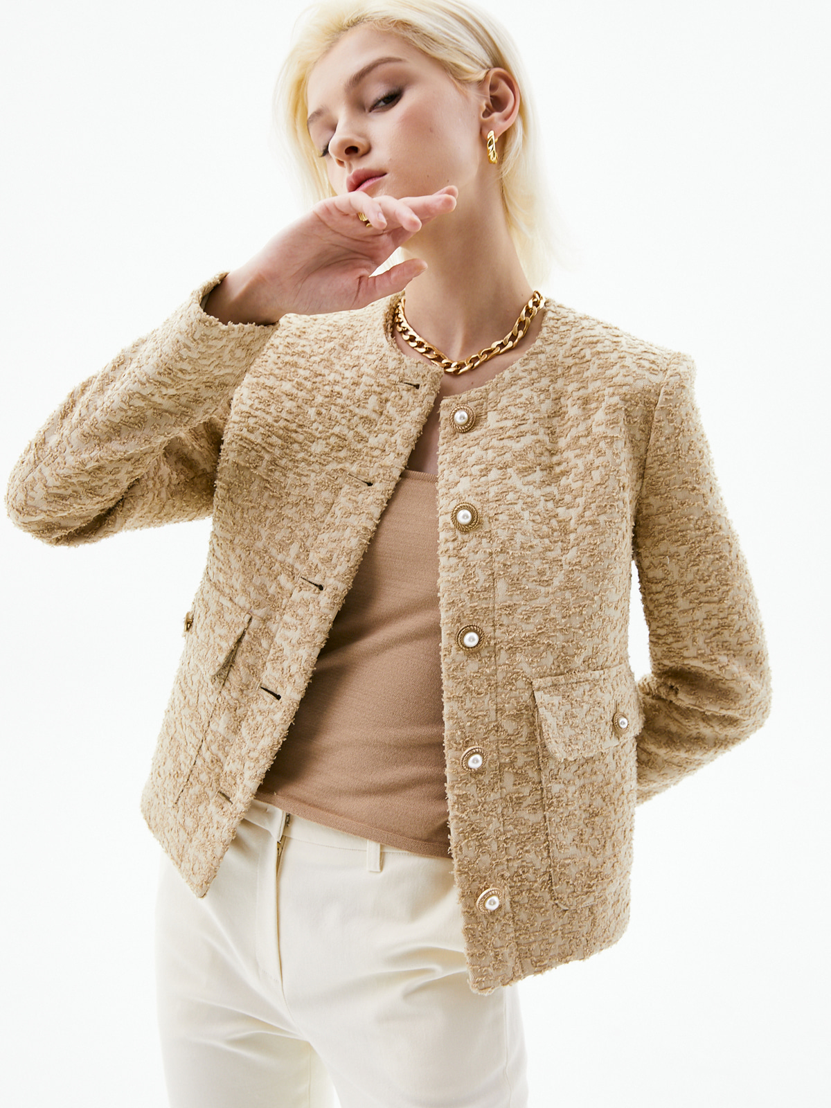 Harriet Classic Tweed Jacket_Beige