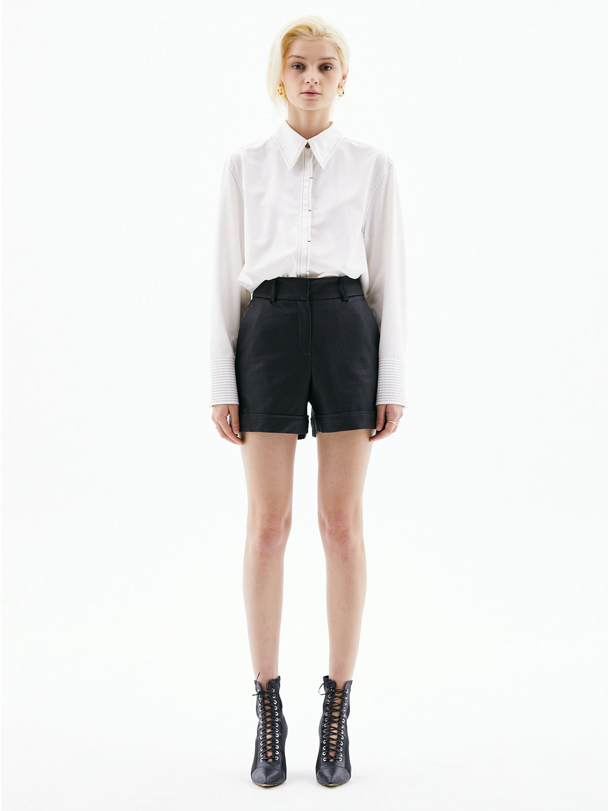 Clara Leather Short Pants_Black