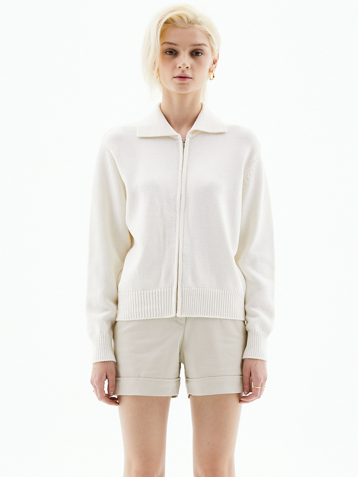 Noah Collar Zip-up Knit_Ivory