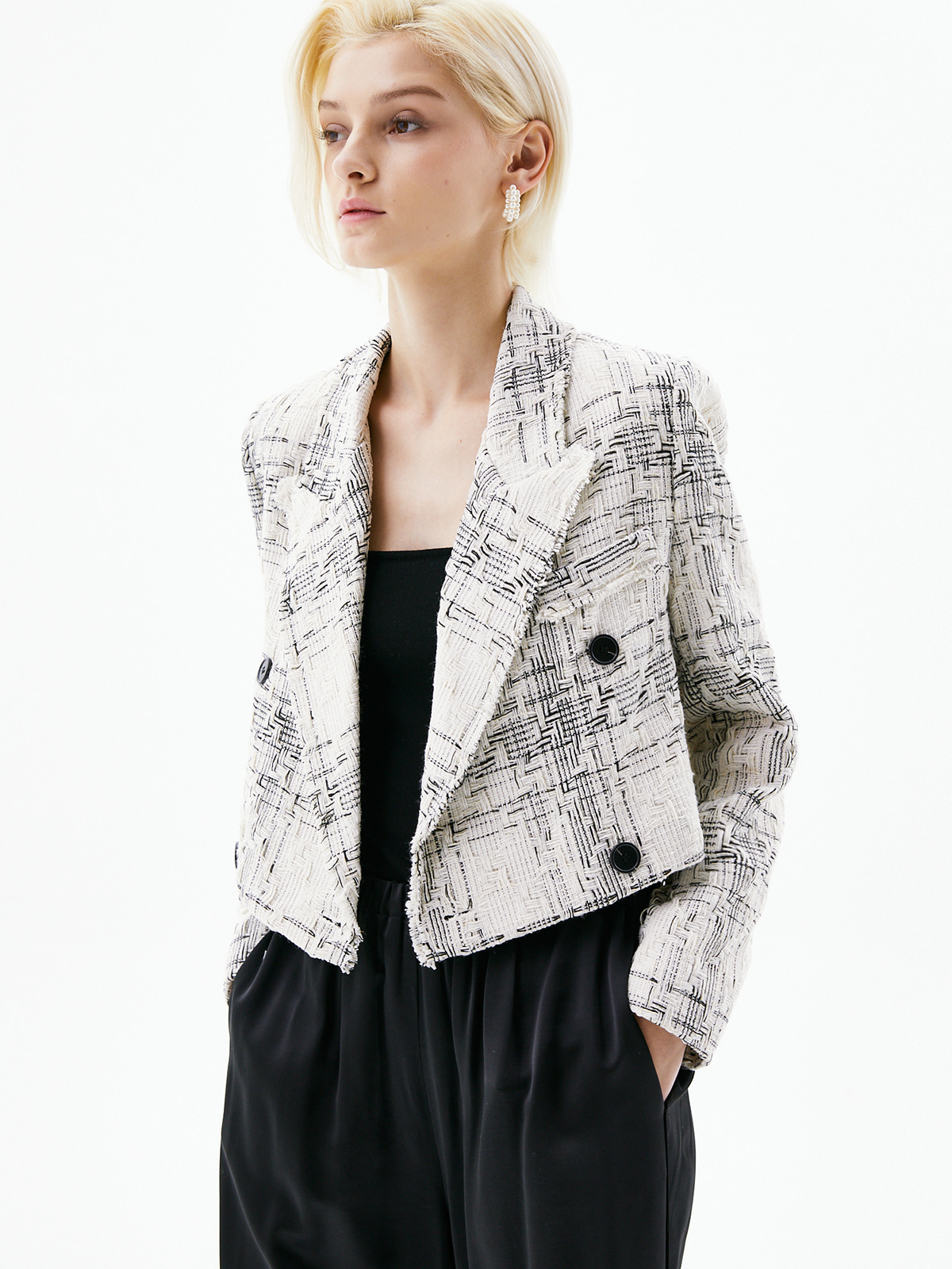 [정인선착용]Stella Tweed Cropped Jacket