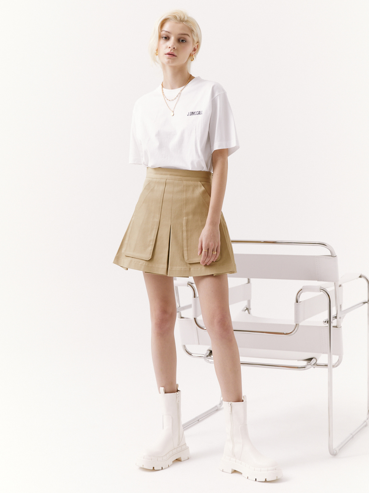 Sophie Pocket Mini Skirt_Beige