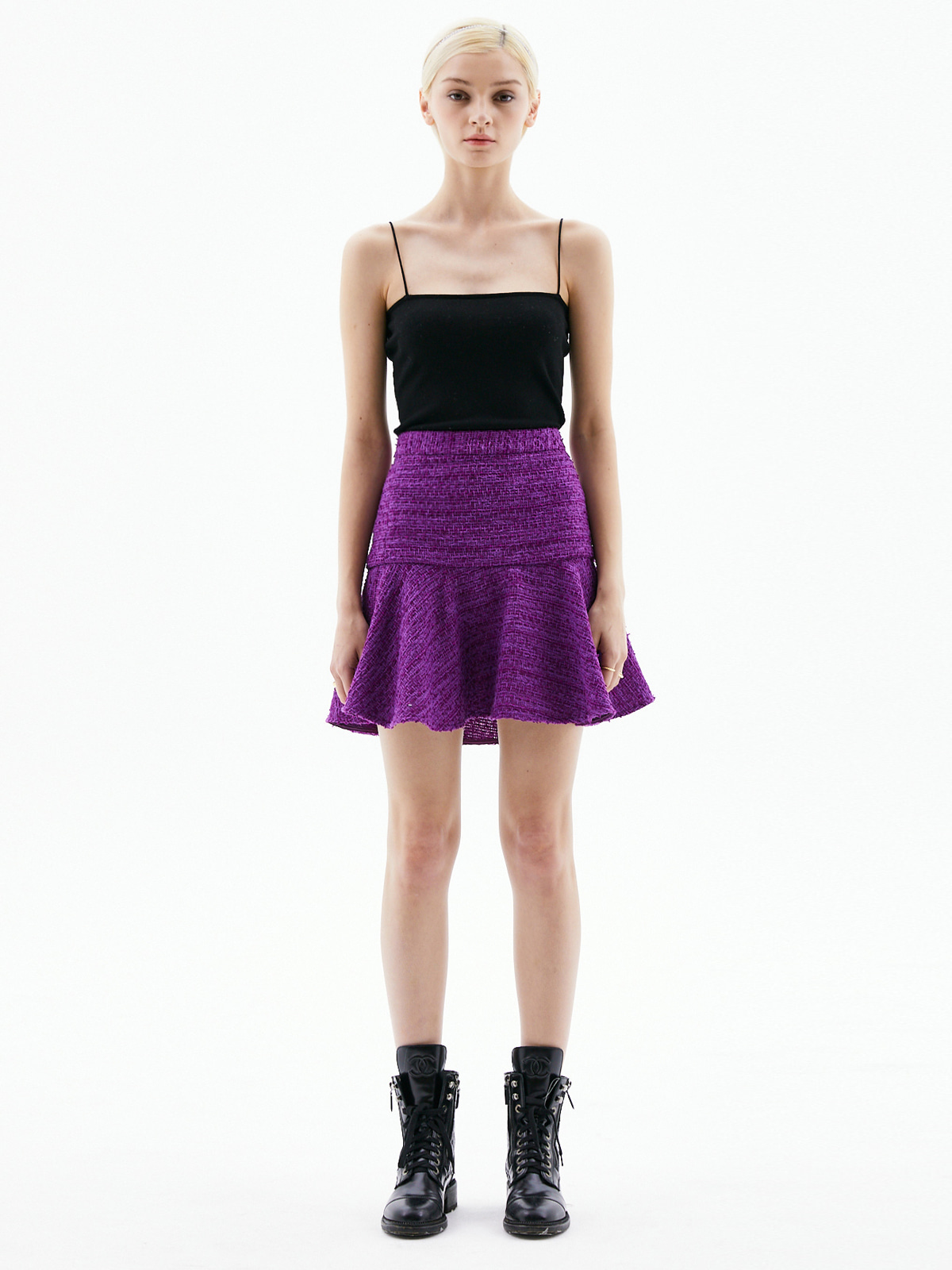 Alice Tweed Mini Skirt_Purple