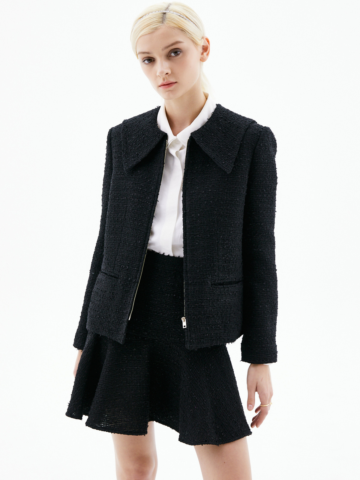 Alice Zip-Up Tweed Jacket_Black