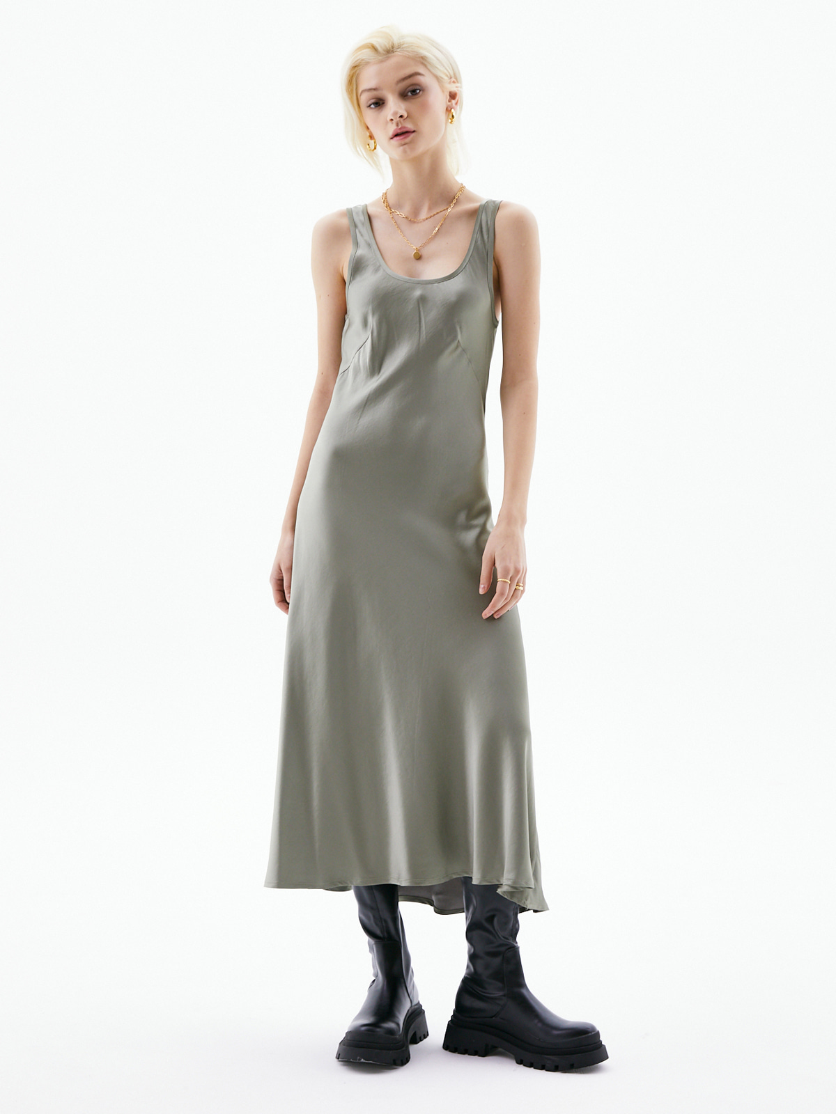 [김소연 착용]Ines Long Sleeveless Dress_Khaki